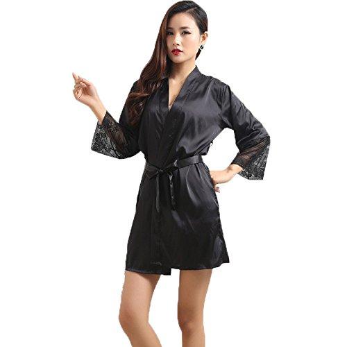Da wu jia Sra. ropa mujer batas de baño Ropa de dormir para dormir moda femenina de seda de alta calidad M L XL XXL,negro,XXL: Amazon.es: Deportes y aire ...