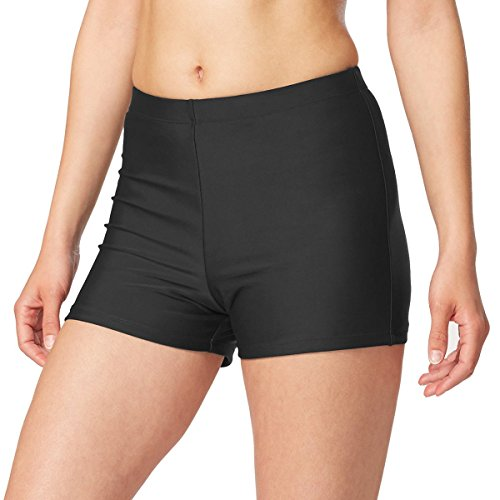 Baleaf Women's Basic High Waisted Boy Short Swim Bikini Tankini Bottom with Liner Black Size M