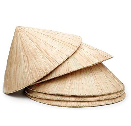 手編み 竹製クーリーハット5点セット アジアン 円錐形の麦わら帽子 ベトナム風ノンラー