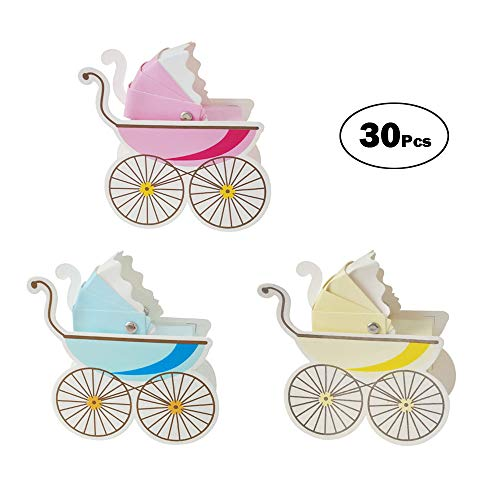 30 Pcs Stroller Baby Shower Candy Box Chocolate Candy Box Party Table Decor(Mix)