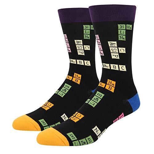 Men's Funny ChemistryScience Design Novelty Cotton CrewSocks, Nerd Periodic Table Elements School Socks for Student Teacher Chemist