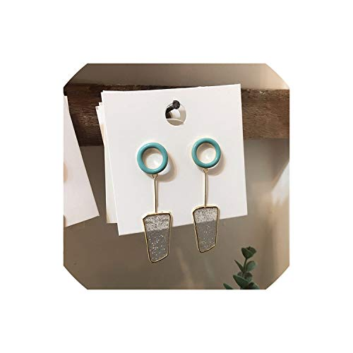 New Korean Geometric Colorful Drop Glaze Clear Earrings For Women Girls Summer Fashion Cute Jewelry Gifts,Green Clear