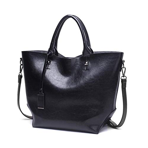 European Bag Women's European Retro Black Women's Fashion Retro Large Shoulder Large Capacity Fashion FUxPqtwCC