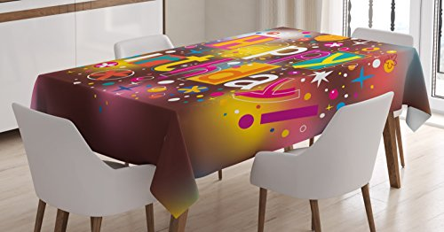 (Ambesonne Birthday Decorations Tablecloth, Colorful Fun Graphic Lettering with Stars Dots Daisies Blur Background, Dining Room Kitchen Rectangular Table Cover, 60 W X 84 L Inches, Multicolor)