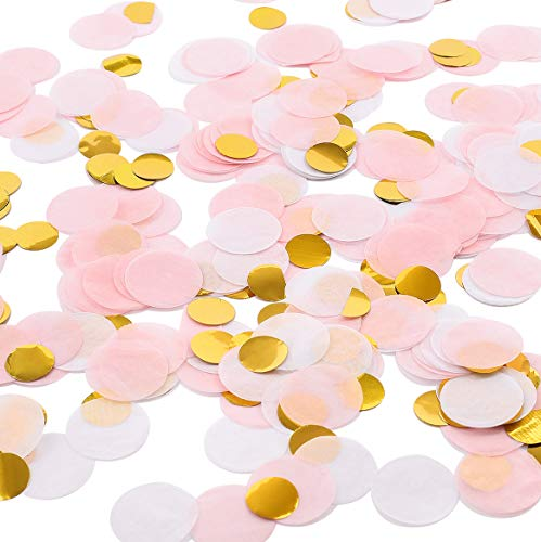 Review Whaline Round Tissue Confetti 6000 Pcs Paper Table Confetti Dots for Wedding Party Baby Showe...