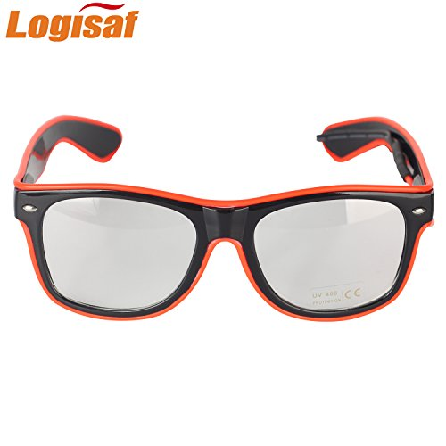 Logisaf LED Glow Eye Glasses With Voice Control Light Up El Wire Glowing Party Rave Glasses For Halloween,Costume Party, Party Favor (Red, Red (Glowing Glass)