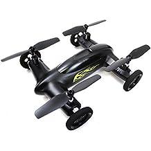 Syma X9volando Quadcopter control remoto coche de coche y Drone con batería (Negro Mate y amarillo Llamas)