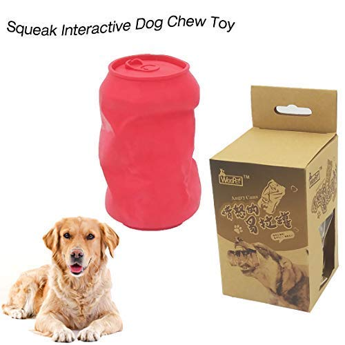 URUNIQ FDA Durable Dog Chew Toy Mad Cans Squeak Interactive Toy Indestructible Bite Toy for Aggressive Chewers Small Medium Breed Dogs Gift for Pets Lover Rose