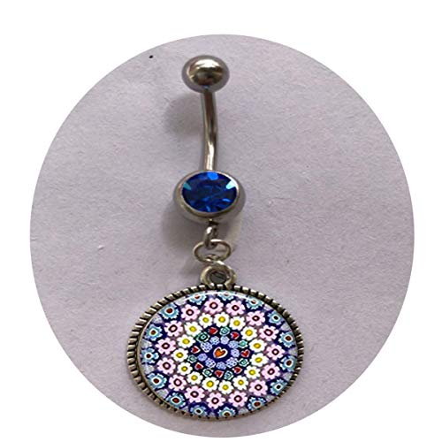 (MILLEFIORI Pendant - Millefiori Necklace - Italian Jewelry - Thousand Flowers - Italian Glass - Flower Belly Ring bar Surgical Steel Religious Jewelry)