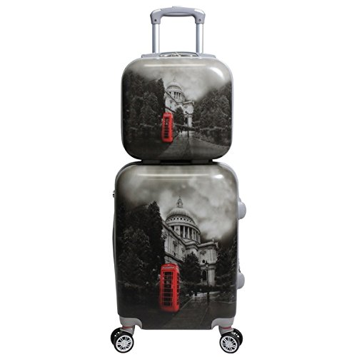 2 Piece Black White Grey London England Phonebooth Theme Hardtop Luggage UK United Kingdom Great Britian Parliament Themed Pattern Upright Rolling Lightweight Hardside Hardshell Carry On Suitcase