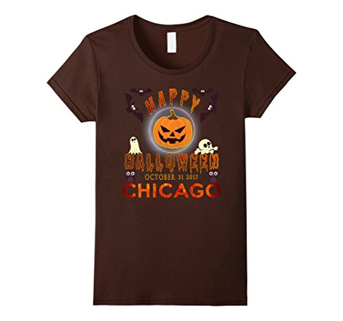 Womens Happy Halloween Chicago 2017 T-Shirt Large Brown