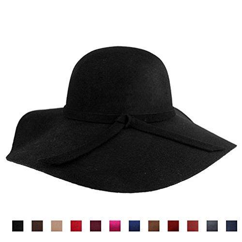 32b2b8b39 AStorePlus Classic Vintage Women Spring Wool Wide Brim Hat Elegant Ladies  Floppy Beach Sun Cap, Black, Coffee, Khaki, Red, Fashionable Winter Wine,  ...