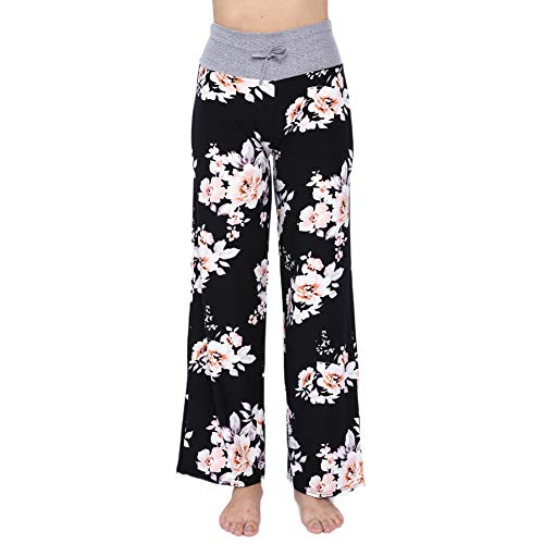 Buttery Soft Pajama Pants for Women - Floral Print Drawstring Casual Palazzo Lounge Pants Wide Leg for All Seasons (L, Black Flower 1)