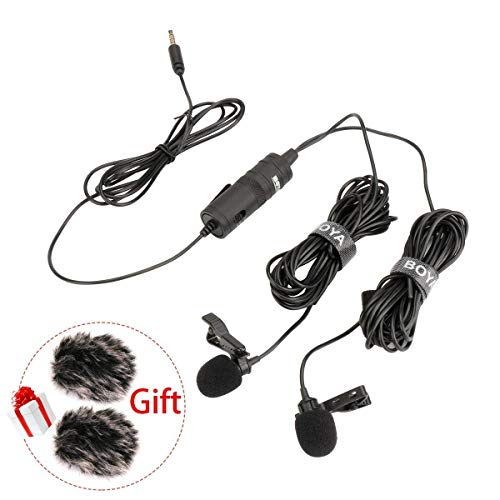 BOYA BY-M1DM 4m Dual-Head Lavalier Lapel Clip-on Microphone for iPhone Samsung OnePlus 7 Pro Smartphones Canon Nikon DSLR Cameras Camcorders Audio Recorder w 2 pcs Free Fur Windshield - Updated BY-M1