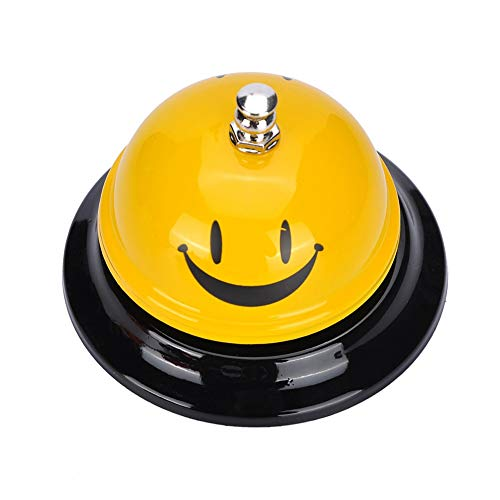 FanSi 2 Pcs Desk Service Call Bell Stainless Steel Smile Face
