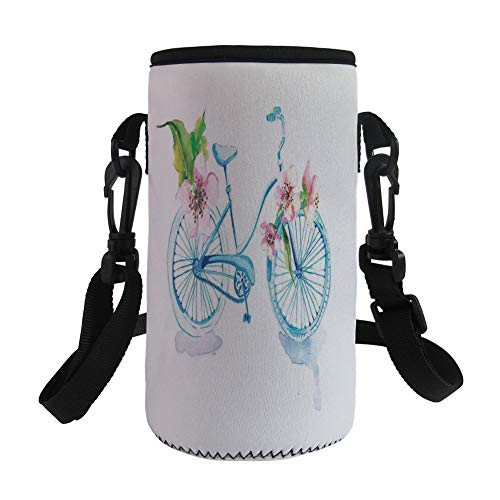 iPrint Small Water Bottle Sleeve Neoprene Bottle Cover,Textured Bicycle with Orchids Romantic Vehicle,fit for Stainless Steel/Plastic/Glass Bottles by iPrint