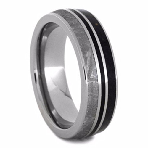 Dinosaur Bone, Gibeon Meteorite, Black Stripe 7mm Comfort-Fit Titanium Wedding Band, Size 9.25 by The Men's Jewelry Store (Unisex Jewelry)