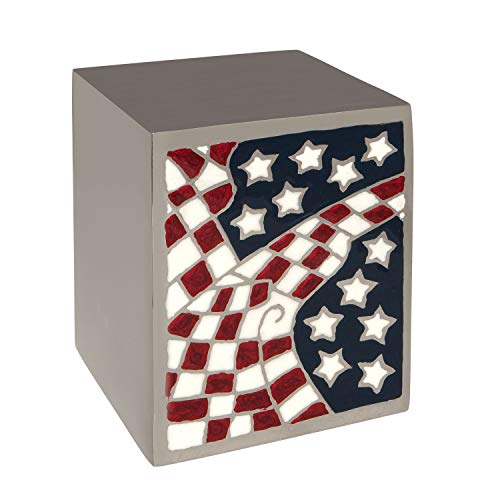 Silver Flag Funeral Urn Box