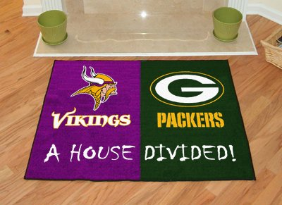 House Divided: Minnesota Vikings - Green Bay Packers Rug - Minnesota Vikings Rug