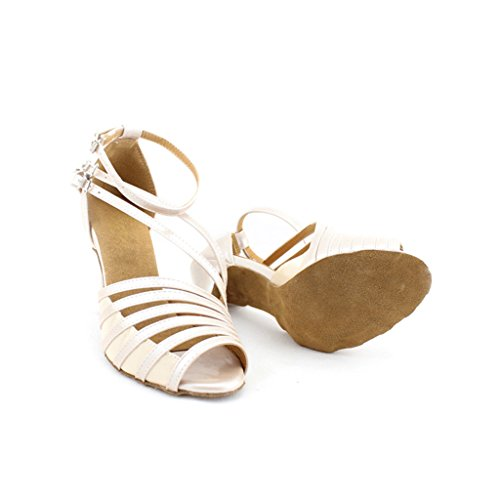 "Misu Women's Peep toe Sandals Latin Salsa Tango Practice Ballroom Dance Shoes with 3.3"" Heel skin color"