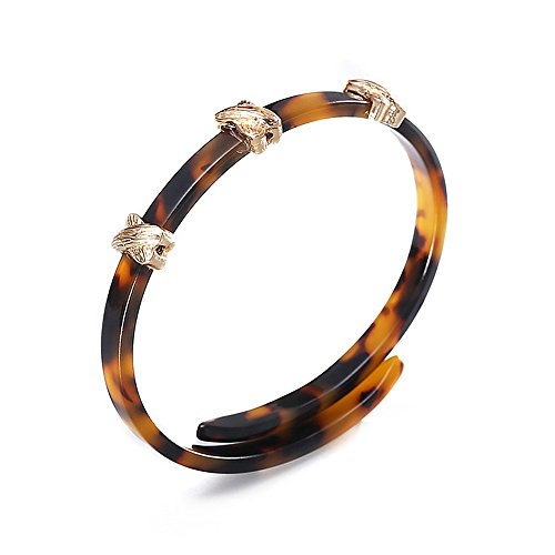 mizukagami Acrylic Resin Bracelet with 3 Gold Charms Tortoise Shell Bangles Bracelet with Half Open Cuff Lightweight Brown Mottled Bangle for Women Girls