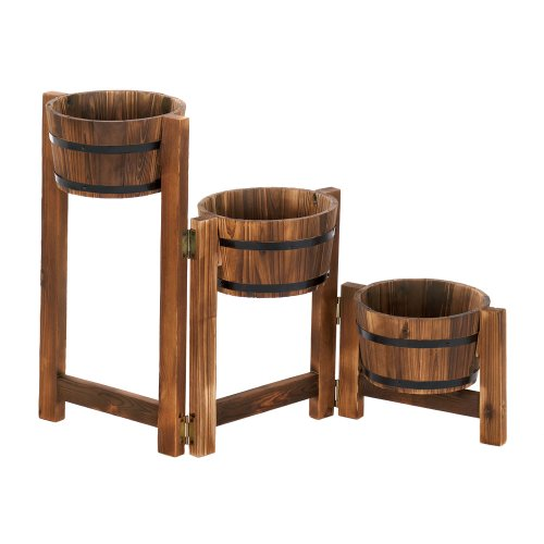 - Wood Planter Boxes,decorative Large Outdoor Planters Apple Barrel Planter Ladder