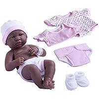 Juego de regalo de muñeca La Newborn Nursery Layette de 8 piezas, Africano Americano Rosa