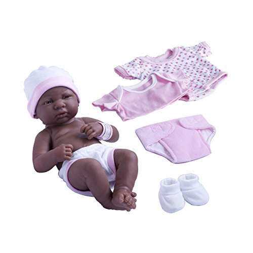 Berenguer Scented Doll (JC Toys La Newborn Nursery African American 8 Piece Layette Baby Doll Gift Set, featuring 14