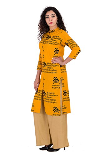 BrightJet Printed Yellow Wooden Button Cotton Women Fashion FrontSlit Kurti Straight fit Kurta Top Tunic Party Dress (XL) by BrightJet (Image #1)