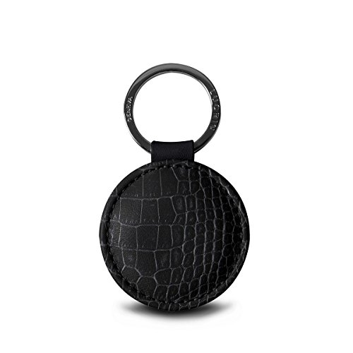 Lucrin - Round key ring (2 inches) - Black - Crocodile style calfskin ()