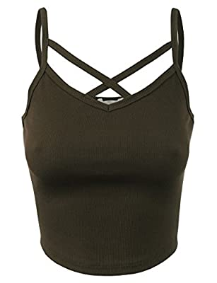 BEKDO Womens Solid Ribbed Peek-A-Boo Cut-Out Cropped Cami Tank Top-L-Dark_Olive