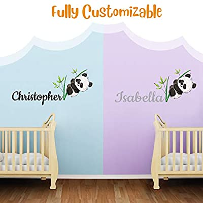 Custom Name Panda Bear And Branches - Baby Gir/Boyl - Nursery Wall Decal For Baby Room Decorations - Mural Wall Decal Sticker For Home Children's Bedroom (MM132) (Wide 32