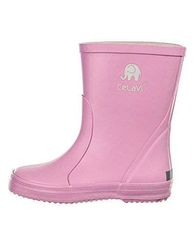 CELAVI Kinder Mädchen Wasserdichte Gummistiefel, 100% Naturkautschuk Regenstiefel, Größe: 24, Farbe: Pink (Cyclamen), 1147