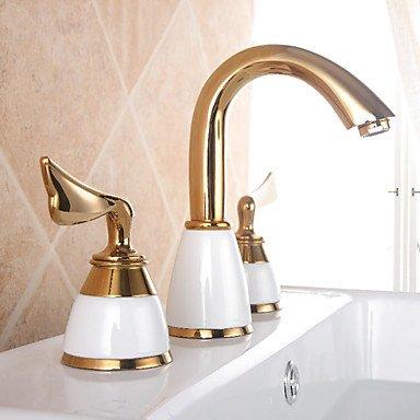 BiuTeFang Basin Tap Ti-PVD Arched Three Holes Two Wing Handles Bathroom Sink Faucet Bathroom Faucet Basin Mixer Tap