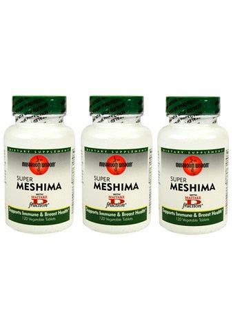 Супер Meshima гриб с Maitake Дополнение Vegan таблетки - 3 бутылки - 120 таблеток в каждой - 90-дневный запас - лекарственных грибов - Травяные Phellinus linteus