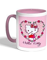 كوب سيراميك للقهوة hello kitty بتصميم ، لون بنك