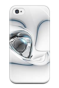 Iphone Case - Tpu Case Protective For Iphone 4/4s- 3d Abstract White