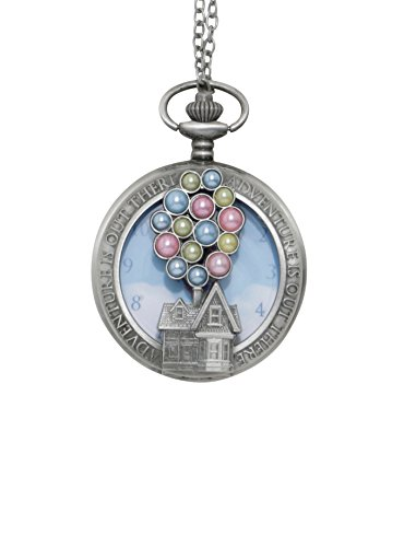 Disney Pixar Up Balloons House Adventure Is Out There Pocket Watch Necklace (Up Necklace)