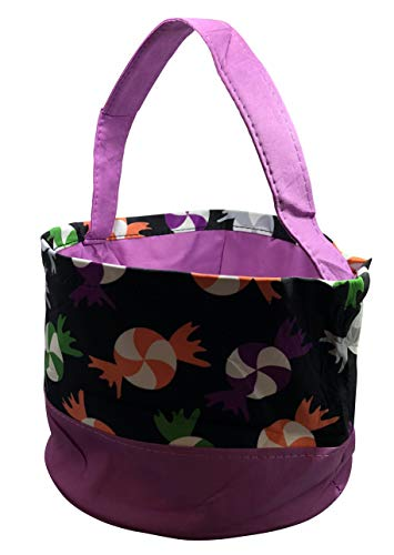 Jolly Jon Halloween Trick or Treat Bags - Kids Candy Bucket Tote Bag Purple, Black]()