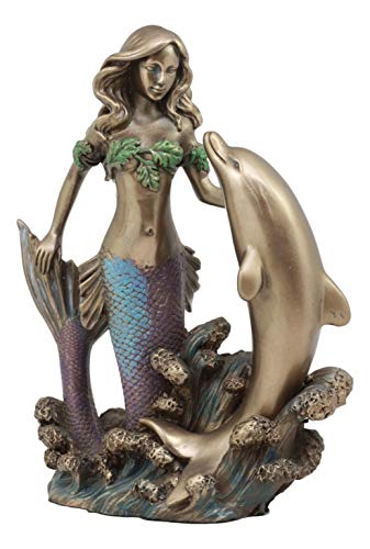 Ebros Art Nouveau Siren Mermaid with Bottlenose Dolphin Rising Over The Ocean Waves Figurine 7.5
