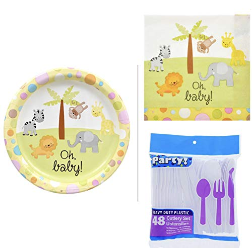 - Oh Baby Gender Neutral Safari Jungle Baby Shower Gender Reveal Party Supplies Set! Paper Plates Utensils Cutlery Napkins! Party Animals For Baby Shower For Boy Or Baby Shower For Girl!
