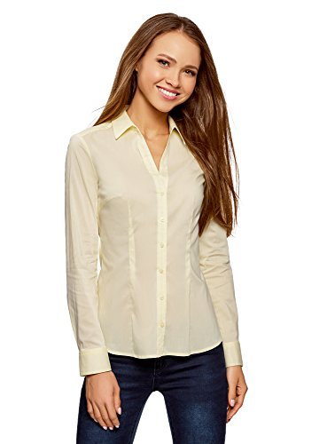 Coton 5000n oodji Chemisier Col Femme V en Collection Jaune qwzwgUR