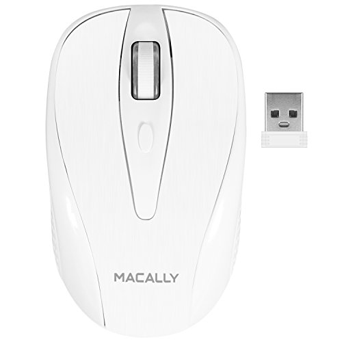 Nano Cordless Laser Mouse (Macally Wireless Mouse with Dongle for Laptops or Desktops | Left/Right | RF 2.4 ghz Cordless USB | Compact for Travel | 1000 dpi cpi Optical Laser | Universal Computer Compatibility Mac PC (White))