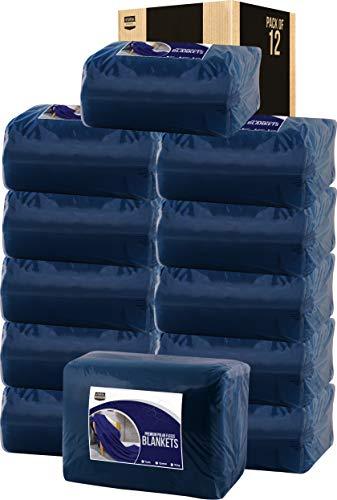 (Utopia Bedding Twin Polar Fleece Premium Bed Blanket Navy (12-Pack))