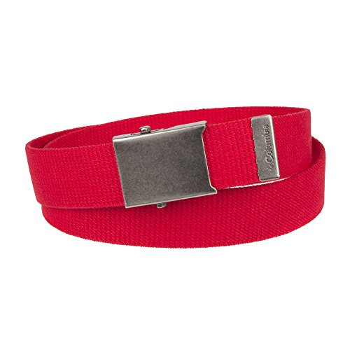 - Columbia Men's Military Web Belt - Casual for Jeans Adjustable One Size Cotton Strap and Metal Plaque Buckle,red,One Size