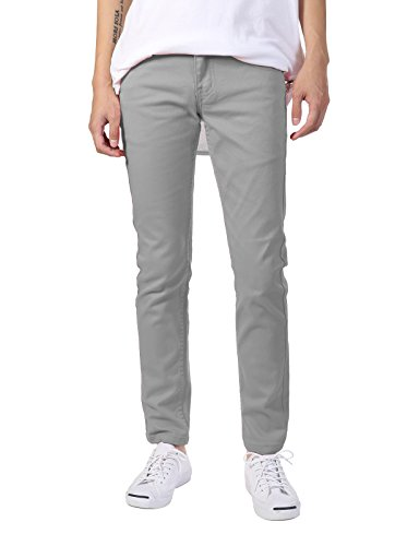 Skinny Jeans Shoes - JD Apparel Men's Basic Casual Colored Skinny Fit Twill Jeans 28Wx30L Light Grey