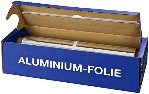 4 Stk. Alufolie in praktischer Spenderbox mit Abreiss-Schiene, 44 cm x 150 m, 11 µm/Alufolie in der praktischen Abrissbox (Cutterbox) - Vorratspackung mit 150m Länge