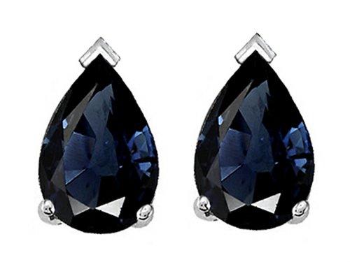 Tommaso Design 7x5mm Pear Shape Genuine Sapphire Earrings 14 kt White Gold 14k 7x5mm Pear Sapphire