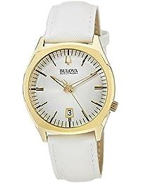 Bulova 97B131 Unisex Accutron II Surveyor Champagne Dial White Leather Strap Watch