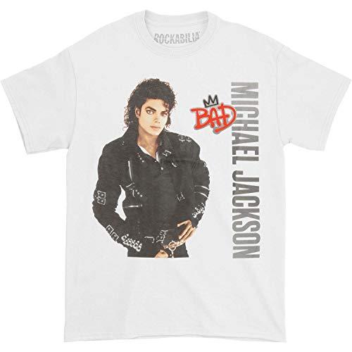 - Michael Jackson Men's MJ Bad Silver Logo T-Shirt Large White